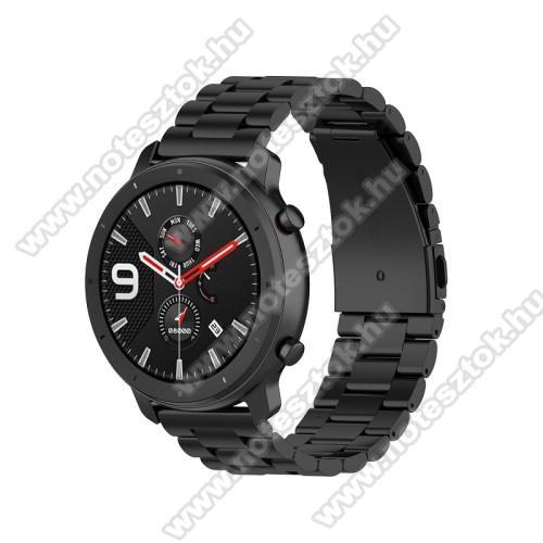 WOTCHI SmartWatch W22SOkosóra szíj - FEKETE - rozsdamentes acél, pillangó csat - 190mm hosszú, 20mm széles, 155-205mm átmérőjű csuklóméretig - SAMSUNG Galaxy Watch 42mm / Xiaomi Amazfit GTS / SAMSUNG Gear S2 / HUAWEI Watch GT 2 42mm / Galaxy Watch Active / Active 2