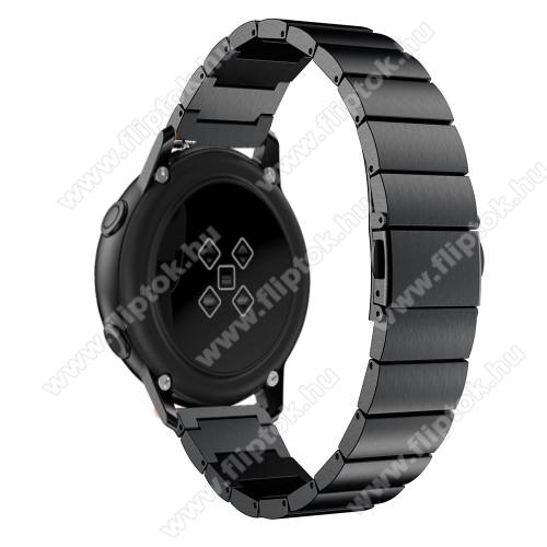 EVOLVEO SPORTWATCH M1SOkosóra szíj - FEKETE - rozsdamentes acél, pillangó csat, 20mm széles, 130mm-215mm csuklóméretig ajánlott - SAMSUNG Galaxy Watch 42mm / Xiaomi Amazfit GTS / SAMSUNG Gear S2 / HUAWEI Watch GT 2 42mm / Galaxy Watch Active / Active 2