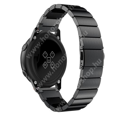 HUAWEI Honor MagicWatch 2 42mm Okosóra szíj - FEKETE - rozsdamentes acél, pillangó csat, 20mm széles, 130mm-215mm csuklóméretig ajánlott - SAMSUNG Galaxy Watch 42mm / Xiaomi Amazfit GTS / SAMSUNG Gear S2 / HUAWEI Watch GT 2 42mm / Galaxy Watch Active / Active 2