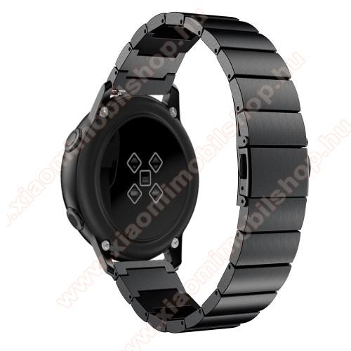 Xiaomi Amazfit GTS 2eOkosóra szíj - FEKETE - rozsdamentes acél, pillangó csat, 20mm széles, 130mm-215mm csuklóméretig ajánlott - SAMSUNG Galaxy Watch 42mm / Xiaomi Amazfit GTS / SAMSUNG Gear S2 / HUAWEI Watch GT 2 42mm / Galaxy Watch Active / Active 2