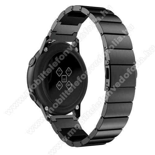 Xiaomi 70mai SaphirOkosóra szíj - FEKETE - rozsdamentes acél, pillangó csat, 20mm széles, 130mm-215mm csuklóméretig ajánlott - SAMSUNG Galaxy Watch 42mm / Xiaomi Amazfit GTS / SAMSUNG Gear S2 / HUAWEI Watch GT 2 42mm / Galaxy Watch Active / Active 2