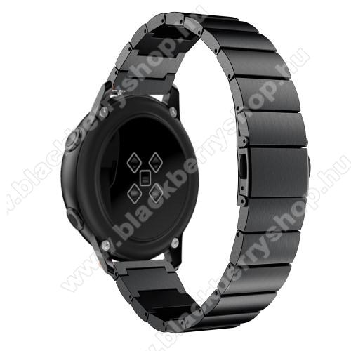 Okosóra szíj - FEKETE - rozsdamentes acél, pillangó csat, 20mm széles, 130mm-215mm csuklóméretig ajánlott - SAMSUNG Galaxy Watch 42mm / Xiaomi Amazfit GTS / SAMSUNG Gear S2 / HUAWEI Watch GT 2 42mm / Galaxy Watch Active / Active 2