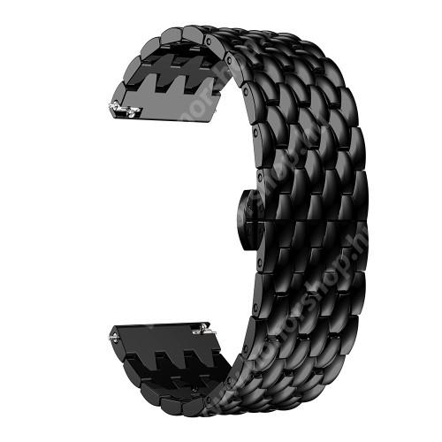 Okosóra szíj - FEKETE - rozsdamentes acél, pillangó csat - 185mm hosszú, 22mm széles, 140-200mm átmérőjű csuklóméretig - SAMSUNG Galaxy Watch 46mm / SAMSUNG Gear S3 Classic / Gear S3 Frontier / Honor MagicWatch 2 46mm