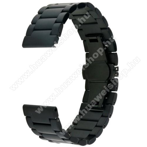 Okosóra szíj - FEKETE - rozsdamentes acél, speciális pillangó csat - 178mm hosszú, 22mm széles - SAMSUNG Galaxy Watch 46mm / SAMSUNG Gear S3 Classic / SAMSUNG Gear S3 Frontier