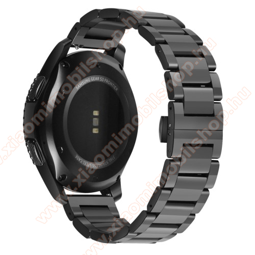 Xiaomi AmazfitOkosóra szíj - FEKETE - rozsdamentes acél, speciális pillangó csat - 180mm hosszú, 22mm széles - HUAWEI Watch GT / HUAWEI Watch Magic / Watch GT 2 46mm