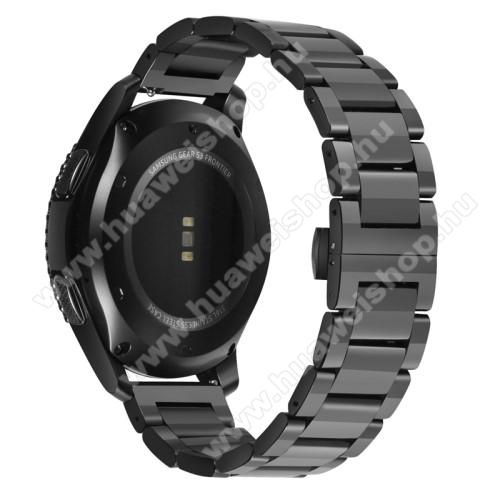 HUAWEI Watch MagicOkosóra szíj - FEKETE - rozsdamentes acél, speciális pillangó csat - 180mm hosszú, 21mm széles - HUAWEI Watch GT / HUAWEI Watch Magic