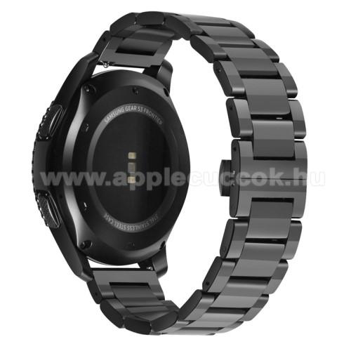 Okosóra szíj - FEKETE - rozsdamentes acél, speciális pillangó csat - 180mm hosszú, 22mm széles - HUAWEI Watch GT / HUAWEI Watch Magic / Watch GT 2 46mm