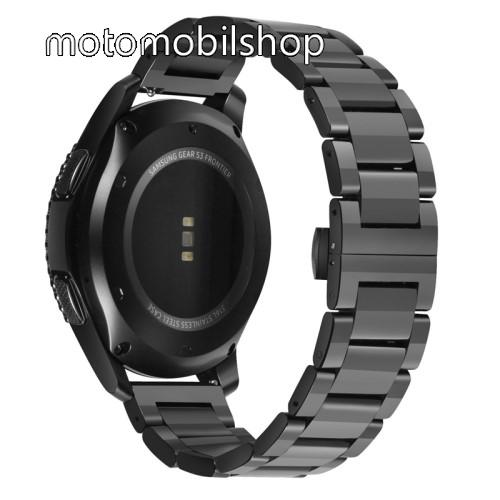 Okosóra szíj - FEKETE - rozsdamentes acél, speciális pillangó csat - 160mm hosszú, 22mm széles - HUAWEI Watch GT / HUAWEI Watch Magic / Watch GT 2 46mm