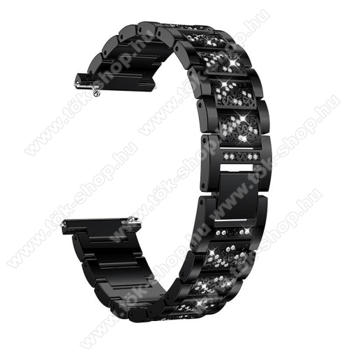 Okosóra szíj - FEKETE - rozsdamentes acél, strassz köves minta, 22mm széles, 170-220mm-ig állítható - HUAWEI Watch GT / SAMSUNG Gear S2 (SM-R720) / HUAWEI Watch GT 2 46mm