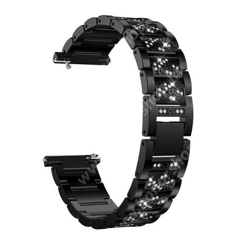 HUAWEI Watch GT 46mm Okosóra szíj - FEKETE - rozsdamentes acél, strassz köves minta, 165mm hosszú, 22mm széles - HUAWEI Watch GT / SAMSUNG Gear S2 (SM-R720) / HUAWEI Watch GT 2 46mm