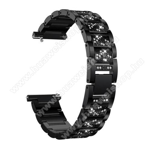 HUAWEI Watch MagicOkosóra szíj - FEKETE - rozsdamentes acél, strassz köves minta, 165mm hosszú, 22mm széles - HUAWEI Watch GT / SAMSUNG Gear S2 (SM-R720) / HUAWEI Watch GT 2 46mm