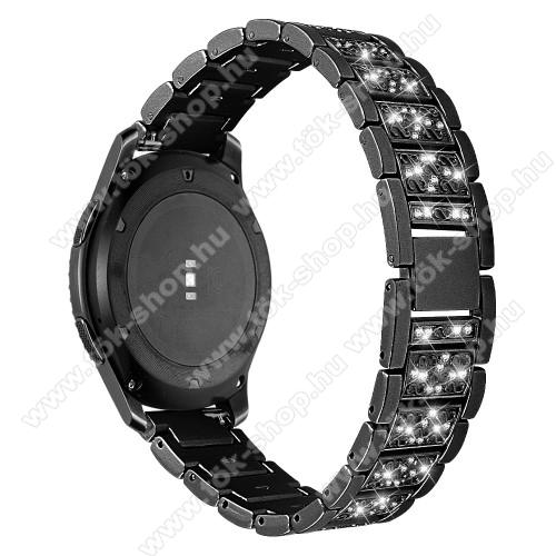 Okosóra szíj - FEKETE - rozsdamentes acél, strassz köves, 22mm széles -  HUAWEI Watch GT / HUAWEI Watch Magic / Watch GT 2 46mm / Honor MagicWatch 2 46mm