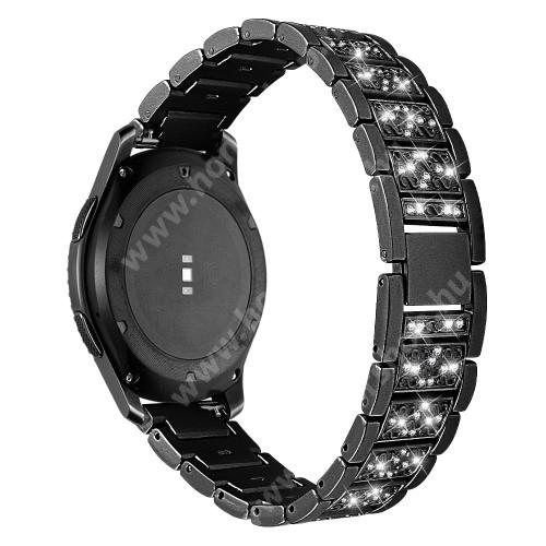 HUAWEI Watch GT 46mm Okosóra szíj - FEKETE - rozsdamentes acél, strassz köves, 22mm széles -  HUAWEI Watch GT / HUAWEI Watch Magic / Watch GT 2 46mm / Honor MagicWatch 2 46mm