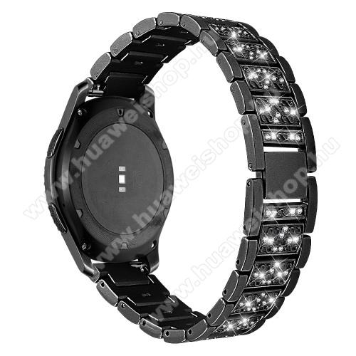 HUAWEI Watch MagicOkosóra szíj - FEKETE - rozsdamentes acél, strassz köves, 22mm széles -  HUAWEI Watch GT / HUAWEI Watch Magic / Watch GT 2 46mm / Honor MagicWatch 2 46mm