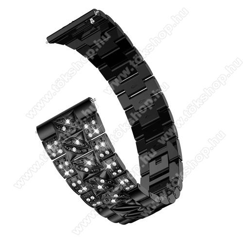 Okosóra szíj - FEKETE - rozsdamentes acél, strasszkővel díszített, 22mm széles - SAMSUNG Galaxy Watch 46mm / SAMSUNG Gear S3 Classic / Gear S3 Frontier / Honor MagicWatch 2 46mm