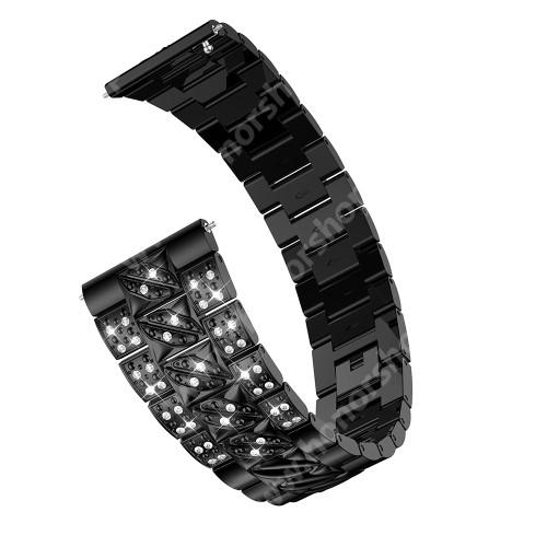 Okosóra szíj - FEKETE - rozsdamentes acél, strassz köves, 22mm széles - SAMSUNG Galaxy Watch 46mm / SAMSUNG Gear S3 Classic / Gear S3 Frontier / Honor MagicWatch 2 46mm