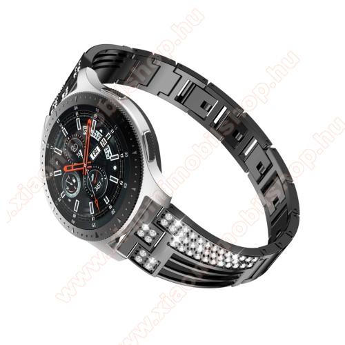 Xiaomi Amazfit PaceOkosóra szíj - FEKETE - rozsdamentes acél, strasszkővel díszített, 180mm hosszú, 22mm széles - HUAWEI Watch GT / SAMSUNG Gear S2 (SM-R720) / HUAWEI Watch GT 2 46mm