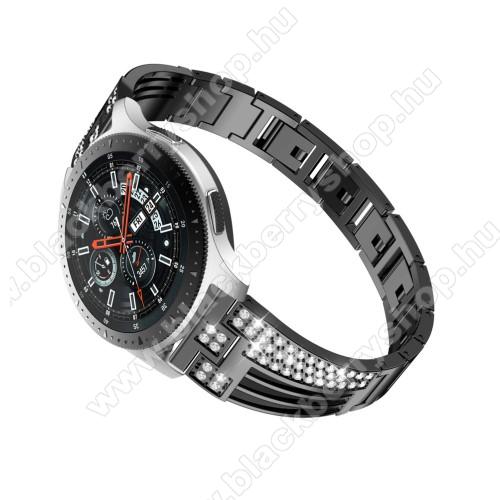 Okosóra szíj - FEKETE - rozsdamentes acél, strasszkővel díszített, 180mm hosszú, 22mm széles - HUAWEI Watch GT / SAMSUNG Gear S2 (SM-R720) / HUAWEI Watch GT 2 46mm