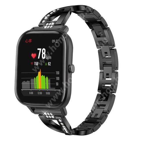 HUAWEI Watch GT 46mm Okosóra szíj - FEKETE - rozsdamentes acél, strassz köves, 22mm széles, 125mm-190mm csuklóméretig ajánlott - HUAWEI Watch GT / HUAWEI Watch Magic / Watch GT 2 46mm