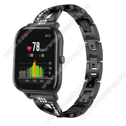SAMSUNG Galaxy Watch 46mm (SM-R800NZ)Okosóra szíj - FEKETE - rozsdamentes acél, strassz köves, 22mm széles, 125mm-190mm csuklóméretig ajánlott - HUAWEI Watch GT / HUAWEI Watch Magic / Watch GT 2 46mm