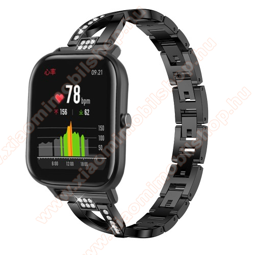 Xiaomi Amazfit PaceOkosóra szíj - FEKETE - rozsdamentes acél, strassz köves, 22mm széles, 125mm-190mm csuklóméretig ajánlott - HUAWEI Watch GT / HUAWEI Watch Magic / Watch GT 2 46mm