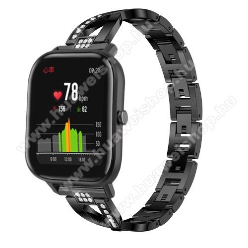 HUAWEI Watch MagicOkosóra szíj - FEKETE - rozsdamentes acél, strassz köves, 22mm széles, 125mm-190mm csuklóméretig ajánlott - HUAWEI Watch GT / HUAWEI Watch Magic / Watch GT 2 46mm