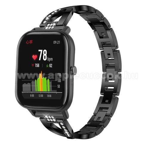 Okosóra szíj - FEKETE - rozsdamentes acél, strassz köves, 22mm széles, 125mm-190mm csuklóméretig ajánlott - HUAWEI Watch GT / HUAWEI Watch Magic / Watch GT 2 46mm
