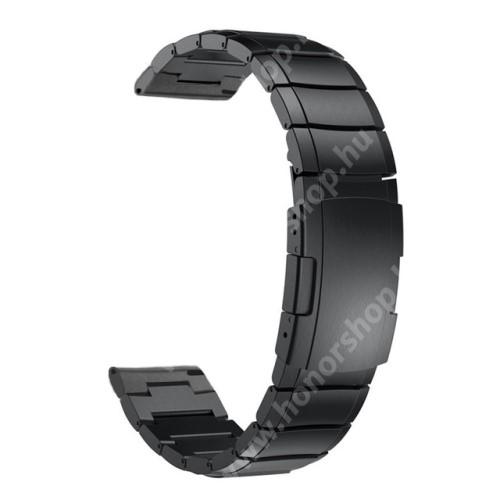 Okosóra szíj - FEKETE - rozsdamentes acél, speciális pillangó csat - 22mm széles - SAMSUNG Galaxy Watch 46mm / HUAWEI Watch GT / GT 2 46mm / Gear S3 Frontier / Honor MagicWatch 2 46mm