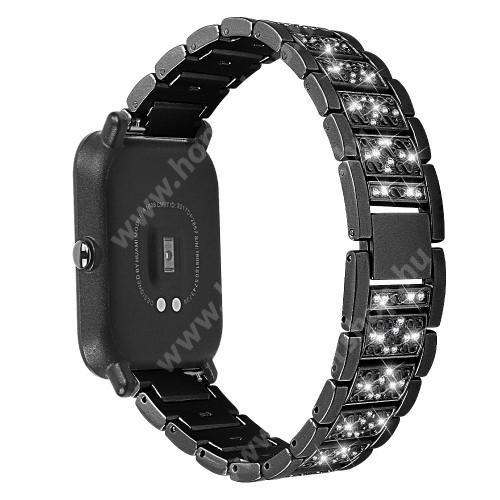 HUAWEI Honor MagicWatch 2 42mm Okosóra szíj - FEKETE - rozsdamentes acél, strasszkővel díszített, 20mm széles - SAMSUNG Galaxy Watch 42mm / Xiaomi Amazfit GTS / HUAWEI Watch GT 2 42mm / Galaxy Watch Active / Active 2