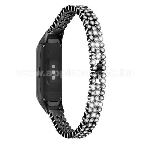 Okosóra szíj - FEKETE - rozsdamentes acél, strasszkővel díszített, 140mm-200mm-es csuklóméretig ajánlott - SAMSUNG SM-R370 Galaxy Fit
