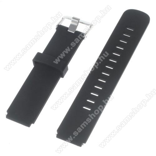 Okosóra szíj - FEKETE - szilikon, 100mm + 97mm hosszú, 18mm széles - HUAWEI Watch