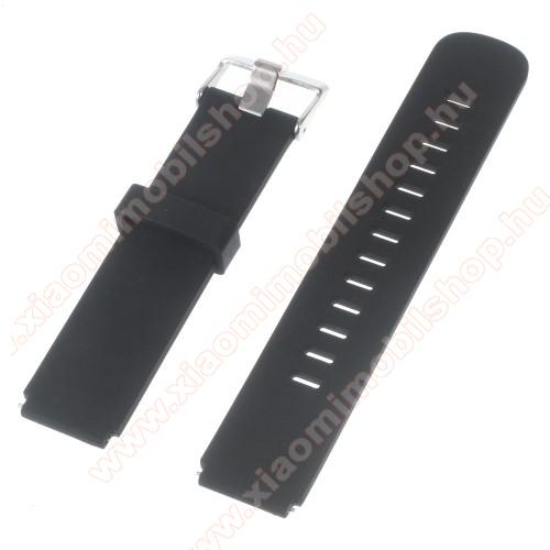 Okosóra szíj - FEKETE - szilikon, 100mm + 97mm hosszú, 20mm széles - HUAWEI Watch