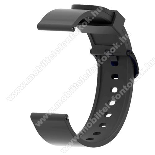 Okosóra szíj - FEKETE - szilikon - 112mm + 85mm hosszú, 20mm széles - SAMSUNG Galaxy Watch 42mm / Xiaomi Amazfit GTS / SAMSUNG Gear S2 / HUAWEI Watch GT 2 42mm / Galaxy Watch Active / Active 2