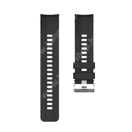 Okosóra szíj - FEKETE - szilikon, 117mm + 74mm hosszú, 22mm széles, 150mm-től 205mm-es méretű csuklóig ajánlott - HUAWEI Honor Watch GS Pro