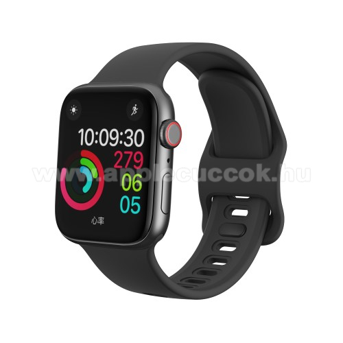 Okosóra szíj - FEKETE - szilikon - 120mm + 104mm hosszú - Apple Watch Series 1/2/3 38mm / APPLE Watch Series 4 40mm / APPLE Watch Series 5 40mm