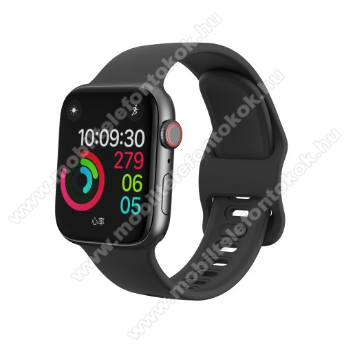 APPLE Watch SE 40mm Okosóra szíj - FEKETE - szilikon - 120mm + 104mm hosszú - Apple Watch Series 1/2/3 38mm / APPLE Watch Series 4 40mm / APPLE Watch Series 5 40mm