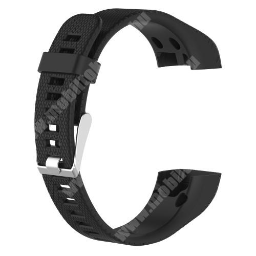 Okosóra szíj - FEKETE - szilikon, 12.5cm + 9.5cm - Garmin Vivosmart HR+