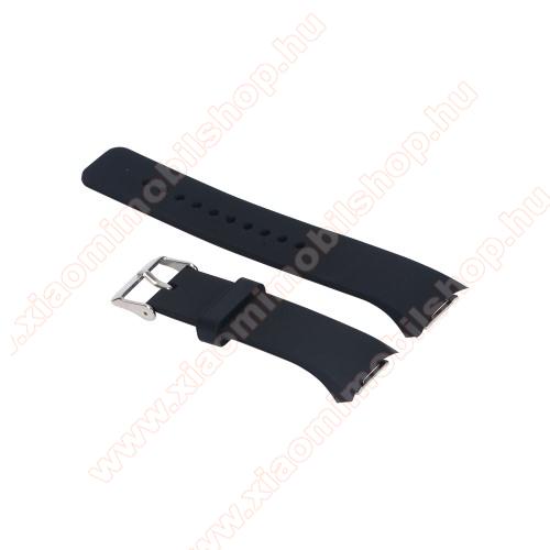 Okosóra szíj - FEKETE - szilikon, 12.8 + 7.2 cm hosszú - SAMSUNG SM-R720 Gear S2