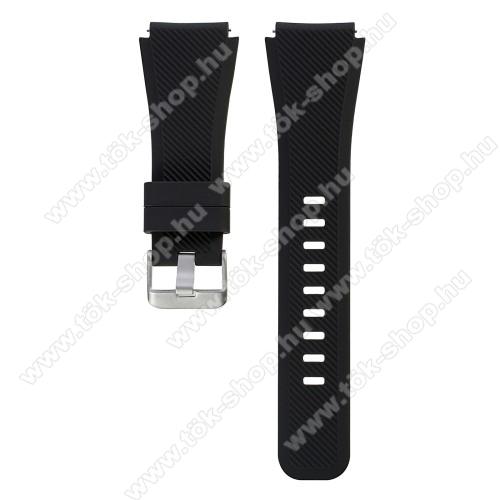 Okosóra szíj - FEKETE - szilikon, 19cm hosszú, 22mm széles - SAMSUNG Galaxy Watch 46mm / SAMSUNG Gear S3 Classic / SAMSUNG Gear S3 Frontier