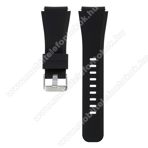 Okosóra szíj - FEKETE - szilikon, 19cm hosszú - SAMSUNG Galaxy Watch 46mm / SAMSUNG Gear S3 Classic / SAMSUNG Gear S3 Frontier