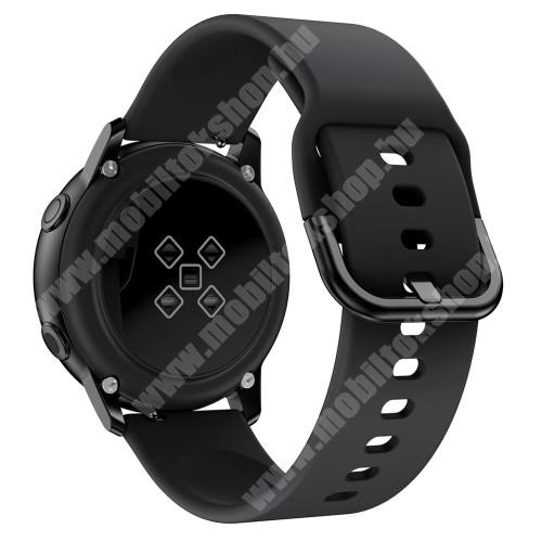 Okosóra szíj - FEKETE - szilikon - 83mm + 116mm hosszú, 20mm széles, 130mm-től 205mm-es méretű csuklóig ajánlott - SAMSUNG Galaxy Watch 42mm / Xiaomi Amazfit GTS / SAMSUNG Gear S2 / HUAWEI Watch GT 2 42mm / Galaxy Watch Active / Active 2