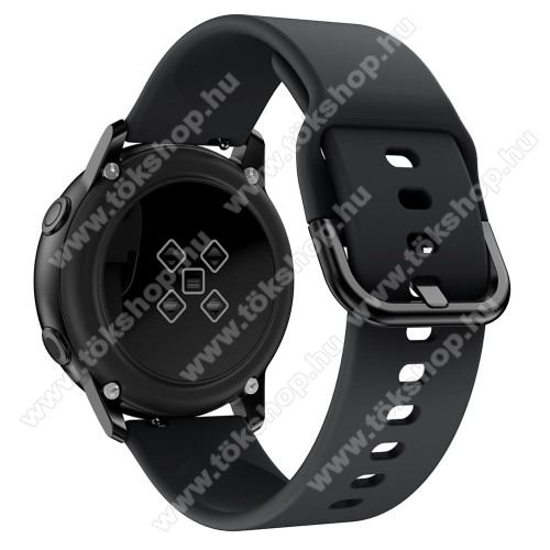 Okosóra szíj - FEKETE - szilikon - 83mm + 116mm hosszú, 20mm széles, 130mm-től 205mm-es méretű csuklóig ajánlott - SAMSUNG Galaxy Watch 42mm / Xiaomi Amazfit GTS / SAMSUNG Gear S2 / HUAWEI Watch GT 2 42mm / Galaxy Watch Active / Active 2