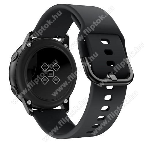 EVOLVEO SPORTWATCH M1SOkosóra szíj - FEKETE - szilikon - 83mm + 116mm hosszú, 20mm széles, 130mm-től 205mm-es méretű csuklóig ajánlott - SAMSUNG Galaxy Watch 42mm / Xiaomi Amazfit GTS / SAMSUNG Gear S2 / HUAWEI Watch GT 2 42mm / Galaxy Watch Active / Active 2