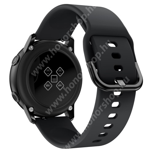 HUAWEI Watch GT 2 42mm Okosóra szíj - FEKETE - szilikon - 83mm + 116mm hosszú, 20mm széles, 130mm-től 205mm-es méretű csuklóig ajánlott - SAMSUNG Galaxy Watch 42mm / Xiaomi Amazfit GTS / SAMSUNG Gear S2 / HUAWEI Watch GT 2 42mm / Galaxy Watch Active / Active 2