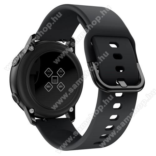 SAMSUNG Galaxy Watch Active2 44mmOkosóra szíj - FEKETE - szilikon - 83mm + 116mm hosszú, 20mm széles, 130mm-től 205mm-es méretű csuklóig ajánlott - SAMSUNG Galaxy Watch 42mm / Xiaomi Amazfit GTS / SAMSUNG Gear S2 / HUAWEI Watch GT 2 42mm / Galaxy Watch Active / Active 2