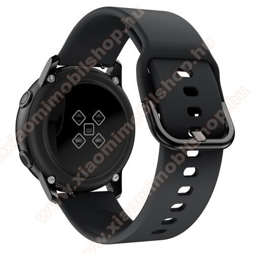 Xiaomi Amazfit Youth Edition Okosóra szíj - FEKETE - szilikon - 83mm + 116mm hosszú, 20mm széles, 130mm-től 205mm-es méretű csuklóig ajánlott - SAMSUNG Galaxy Watch 42mm / Xiaomi Amazfit GTS / HUAWEI Watch GT / SAMSUNG Gear S2 / HUAWEI Watch GT 2 42mm / Galaxy Watch Active / Active