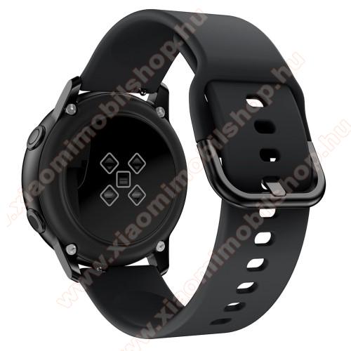 Xiaomi Amazfit GTS 2eOkosóra szíj - FEKETE - szilikon - 83mm + 116mm hosszú, 20mm széles, 130mm-től 205mm-es méretű csuklóig ajánlott - SAMSUNG Galaxy Watch 42mm / Xiaomi Amazfit GTS / SAMSUNG Gear S2 / HUAWEI Watch GT 2 42mm / Galaxy Watch Active / Active 2