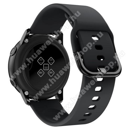 HUAWEI Honor MagicWatch 2 42mmOkosóra szíj - FEKETE - szilikon - 83mm + 116mm hosszú, 20mm széles, 130mm-től 205mm-es méretű csuklóig ajánlott - SAMSUNG Galaxy Watch 42mm / Xiaomi Amazfit GTS / SAMSUNG Gear S2 / HUAWEI Watch GT 2 42mm / Galaxy Watch Active / Active 2