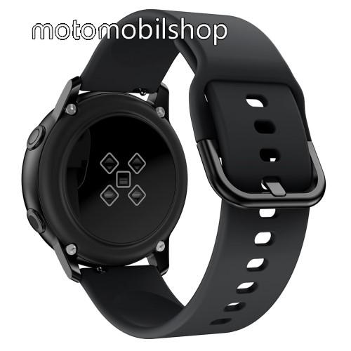 Okosóra szíj - FEKETE - szilikon - 83mm + 116mm hosszú, 20mm széles, 130mm-től 205mm-es méretű csuklóig ajánlott - SAMSUNG Galaxy Watch 42mm / Xiaomi Amazfit GTS / HUAWEI Watch GT / SAMSUNG Gear S2 / HUAWEI Watch GT 2 42mm / Galaxy Watch Active / Active