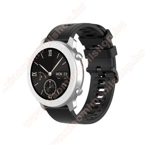 Xiaomi Amazfit GTR 42mmOkosóra szíj - FEKETE - szilikon, 85mm + 120mm hosszú, 20mm széles - SAMSUNG Galaxy Watch 42mm / Xiaomi Amazfit GTS / HUAWEI Watch GT / SAMSUNG Gear S2 / HUAWEI Watch GT 2 42mm / Galaxy Watch Active / Active 2